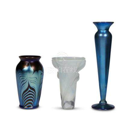 ART GLASS, THREE VASES, 20th century