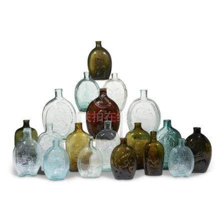 A group of nineteen American molded glass flasks, probably 2
