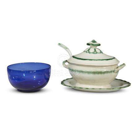 A green 'feather-edge' pearlware covered tureen and blue gla