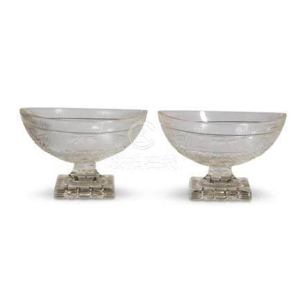 A pair of cut glass salts, 19th century