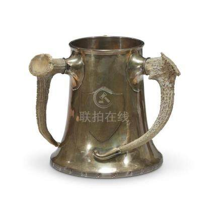 An antler-mounted sterling silver trophy cup, 20th century