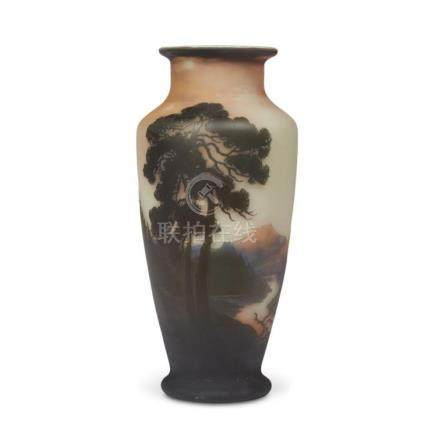 An Art Nouveau acid-etched and enameled glass vase, muller f