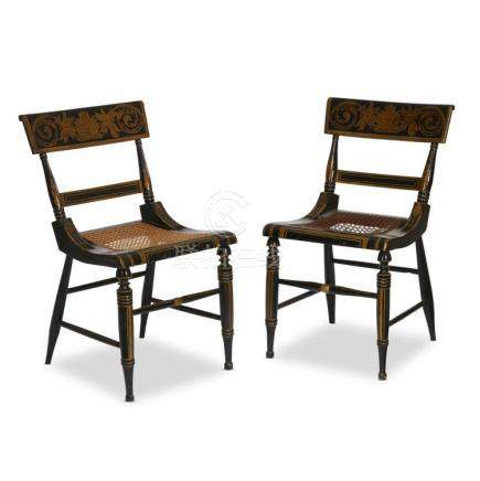 A pair of painted and gilt-decorated fancy chairs, philadelp