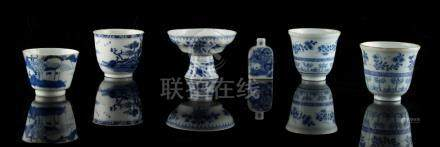 A group of six Chinese blue & white items, 18th century & later, comprising a stem cup, four beakers