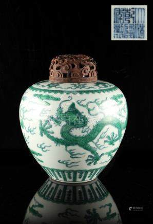 A Chinese green & blue dragon jar, underglaze blue Qianlong 6-character seal mark to base, with