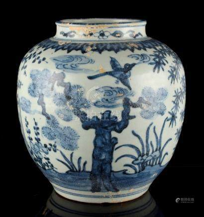 A Chinese Ming style blue & white ovoid jar painted with the Three Friends of Winter (pine, bamboo &