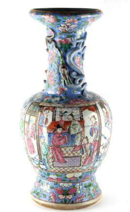 A Chinese famille rose lavender blue ground baluster vase, Guangxu period (1875-1908), the neck with