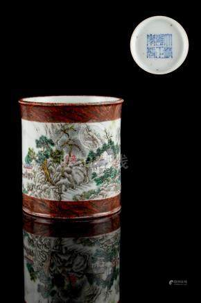 A Chinese brush pot, bitong, painted with a continuous landscape within faux bois borders, Yongzheng