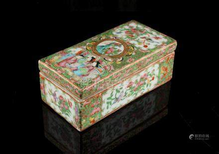 A 19th century Chinese Canton famille rose rectangular comb box & cover, with interior division, 7.