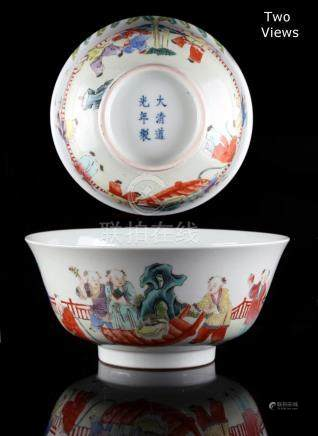 A Chinese famille rose boys bowl, painted with ten boys in a garden, the interior plain,
