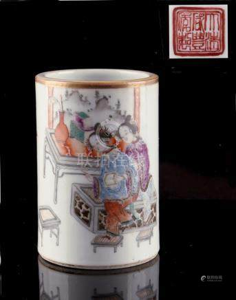 A Chinese brush pot, bitong, painted en grisaille & polychrome enamels with Two Ladies in Interior