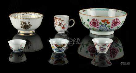 A group of six ceramic items, 18th century & later, including two famille rose tea bowls, one