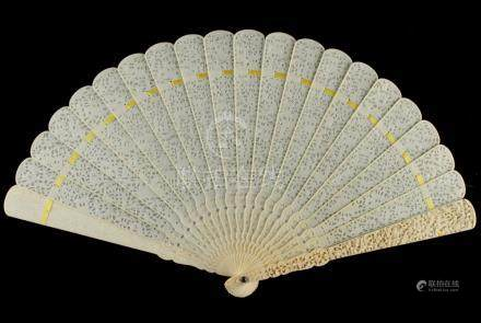 A Chinese Canton carved ivory fan, 19th century, 9.3ins. (23.6cms.) long (see illustration).