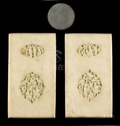 Property of a deceased estate - a pair of 19th century Chinese Canton carved ivory panels,