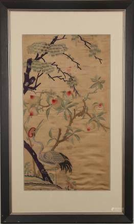 CHINESE KESI PANEL OF CRANE, QING DYNASTY