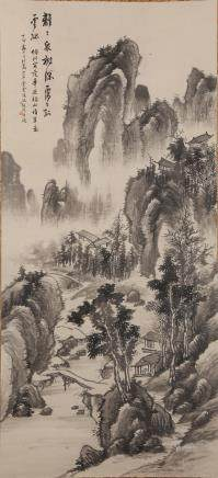 CHINESE SCROLL PAINTING OF LANDSCAPE, FENG CHAORAN