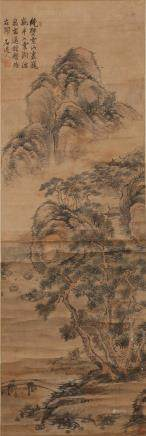 CHINESE SCROLL PAINTING OF LANDSCAPE, SHIDAOREN