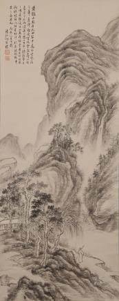 CHINESE SCROLL PAINTING OF LANDSCAPE, HE WEIPU