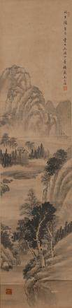 CHINESE SCROLL PAINTING OF LANDSCAPE, WANG WENHAO