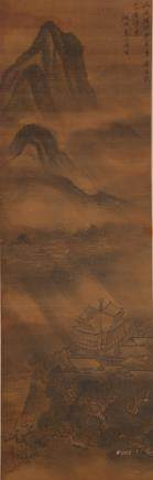 CHINESE SCROLL PAINTING OF LANDSCAPE, WU XIAOXIAN