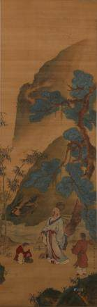 CHINESE SCROLL PAINTING OF LANDSCAPE, SUN KEHONG