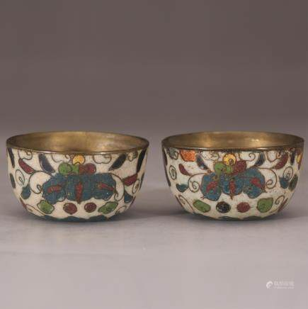 PAIR OF CHINESE CLOISONNE CUPS, QING DYNASTY