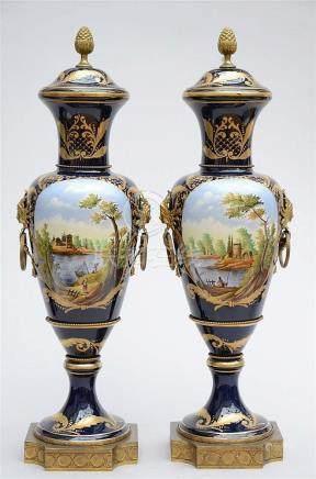 A pair of large porcelain vases, Sèvres style (100cm)