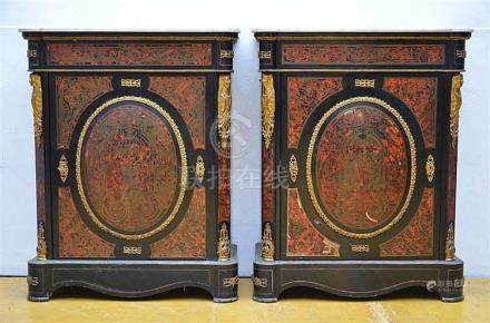 Pair of Napoleon III cabinets with inlaywork (*) (40x82x104c