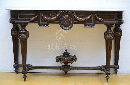 A Napoleon III console table with white marble top (48x160x9