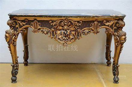 Sculpted console table with marble top (76x128x80cm)