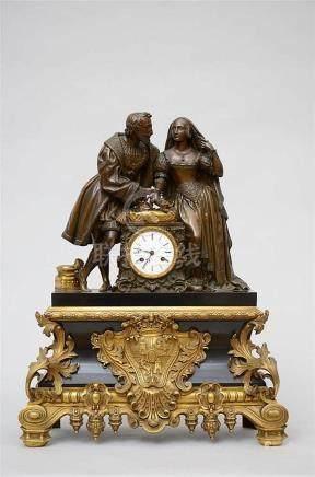 A bronze Louis-Philippe clock 'Royal couple' (19x52x66cm)