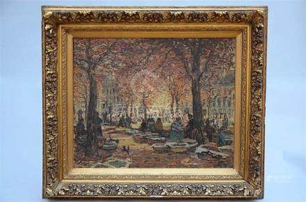 Hazledine Alfred: painting (o/c) 'flower market in Ghent' (8