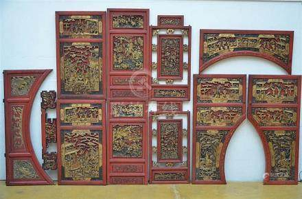 Lot: Chinese furniture elements with relief decoration