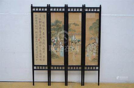 Chinese paravent with paintings (121x100cm)