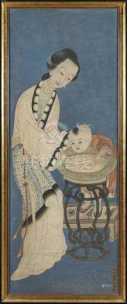 A large Chinese painting 'mother and child' (63x161cm)