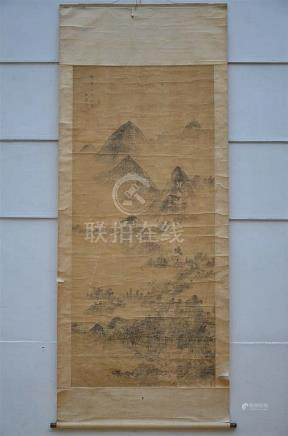 Large, Chinese scroll 'landscape' (*) (215x95cm)