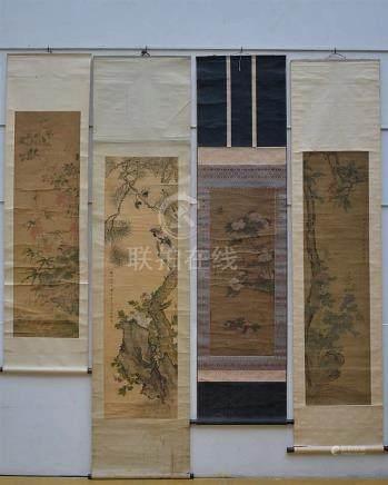Lot of 4 Chinese scrolls 'birds'