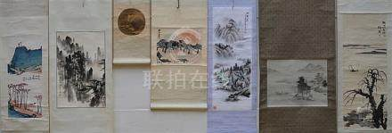 Lot: 7 Chinese scrolls 'houses and landscapes'