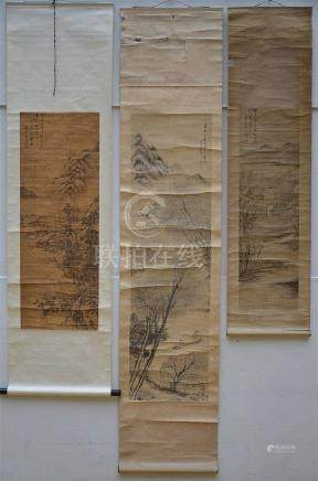 Lot: 3 Chinese scrolls 'landscapes'