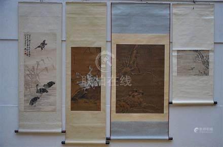 Lot: 4 Chinese scrolls 'ducks'