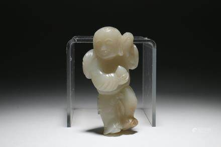 A Chinese Carved Jade Figure Decoration