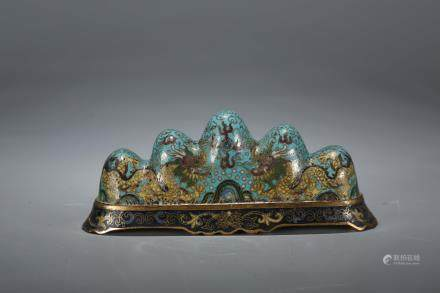 A Chinese Cloisonné Brush Rest