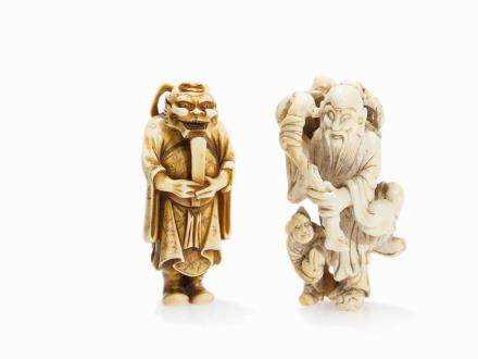 Set with 2 Ivory Netsuke of Different Figures, Meiji