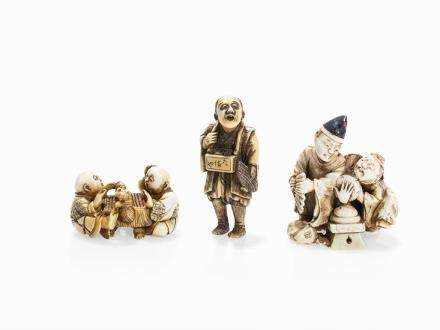 Set with 3 Ivory Netsuke of Different Figures, Meiji