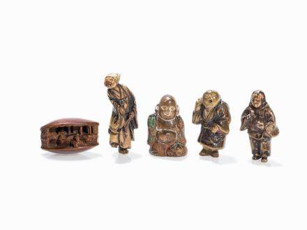 Set with 5 Wood and partly Lacquer Netsuke, 18th/19th C.