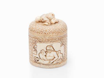 Erotic Carved Ivory Box with Miniature, Japan, Early 20th C.