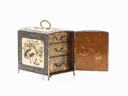 Shibayama Silver Chest with Lacquer Work Interior, Meiji