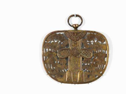 Gilt Copper Buddhist Altar Pendant (Keman) with Lotus, 17th C.