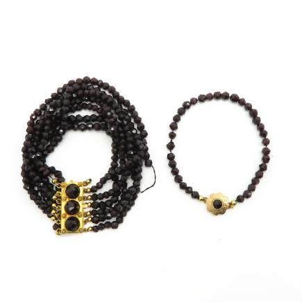 Lot of 2 Garnet Bracelets with 14KG Clasp