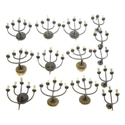 Large Lot of 19th Century Cast Iron Wall Sconces